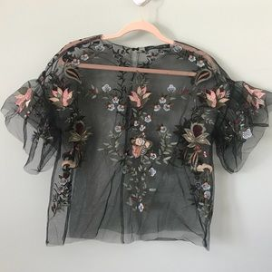 Zara Embroidered Tulle Top 🌺